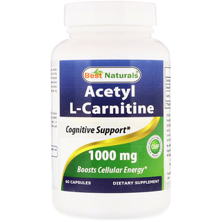 Best Naturals, Acetyl L-Carnitine, 1000 mg, 60 Capsules