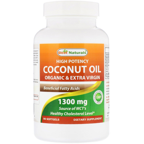 Best Naturals, High Potency Coconut Oil, Organic & Extra Virgin, 1300 mg, 90 Softgels