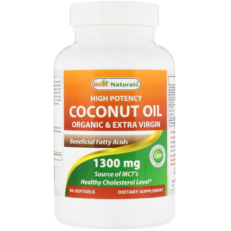 High Potency Coconut Oil, Organic & Extra Virgin, 1,300 mg, 90 Softgels