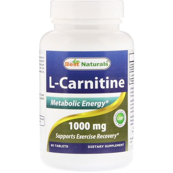 Best Naturals, L-карнитин, 1000мг, 60таблеток