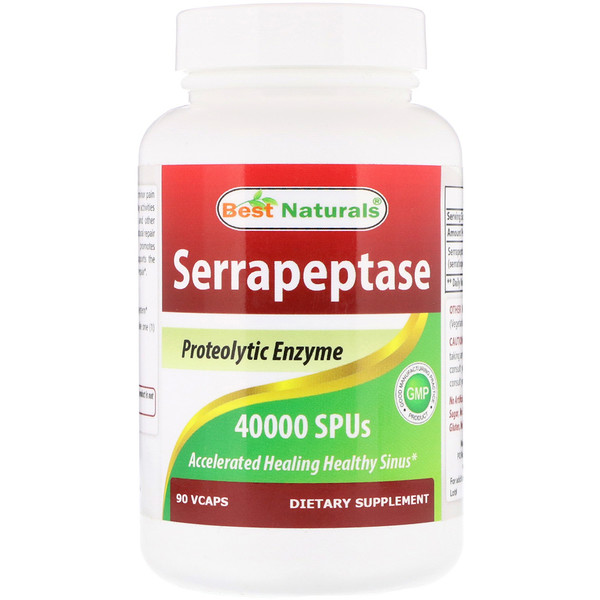 Best Naturals, Serrapeptase, 40000 SPUs, 90 Vcaps (Discontinued Item)