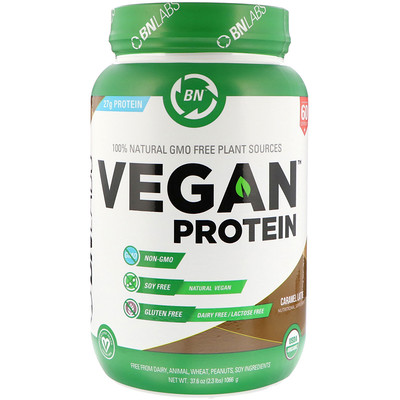 BN LABS Vegan Protein, Caramel Latte, 2.3 lb (1066 g)