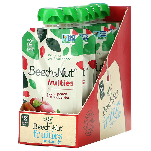 Fruities, Stage 2, Apple, Peach & Strawberries, 12 Pouches, 3.5 oz (99 g) Each