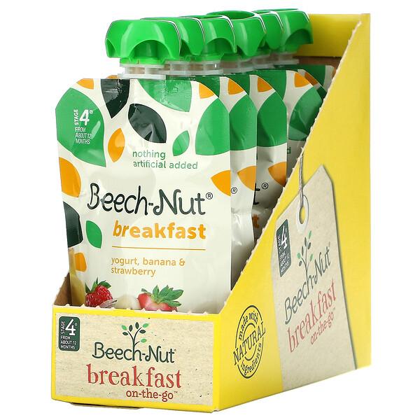 Breakfast, Stage 4, Yogurt, Banana & Strawberry, 12 Pouches, 3.5 oz (99 g) Each