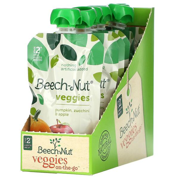 Veggies, Stage 2, Pumpkin, Zucchini & Apple, 6 Pouches, 3.5 oz (99 g) Each