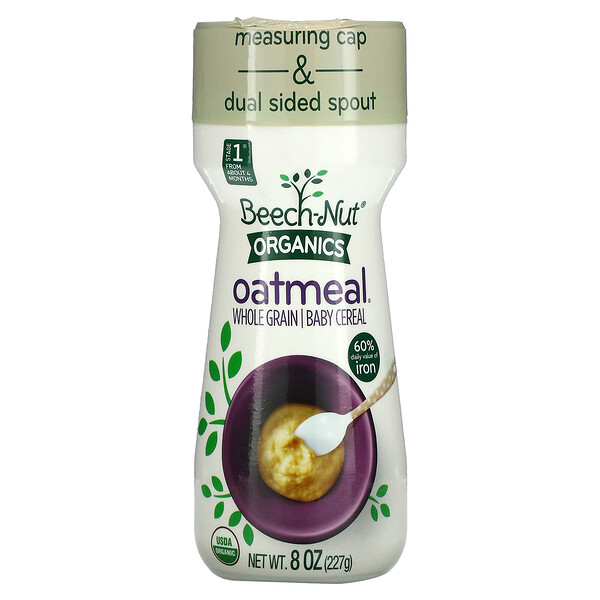 Organics Oatmeal, Whole Grain Baby Cereal, Stage 1, 8 oz (227 g)