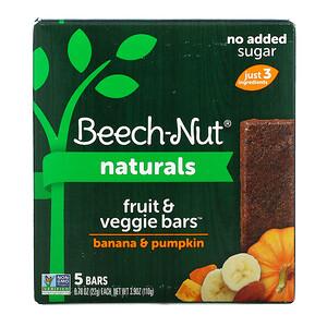 Beech-Nut Nutrition, Naturals, Fruit & Veggie Bars, Stage 4, Banana & Pumpkin, 5 Bars, 0.78 oz (22 g) Each