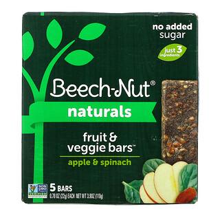 Beech-Nut, Naturals, Fruit & Veggie Bars, Stage 4, Apple & Spinach, 5 Bars, 0.78 oz (22 g) Each