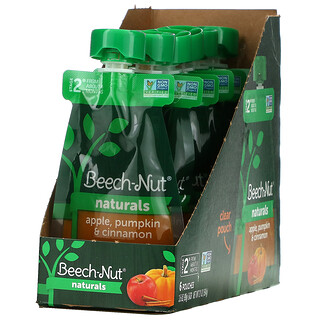 Beech-Nut, Naturals,2 段,苹果、南瓜、肉桂,6 袋装,每袋 3.5 盎司(99 克)
