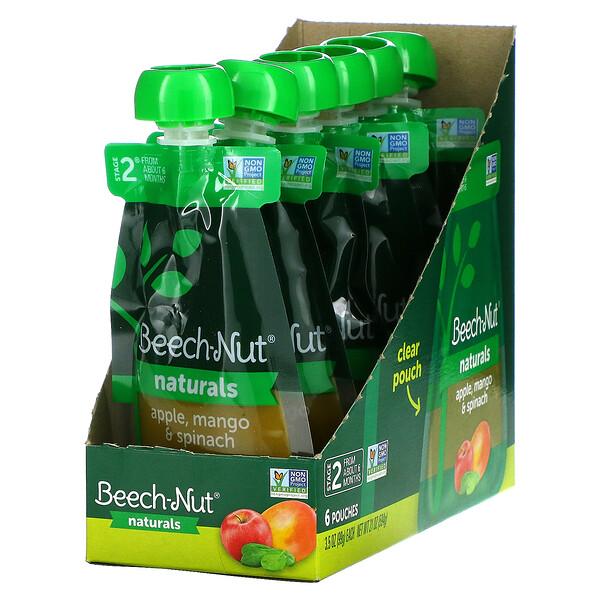 Naturals, Stage 2, Apple, Mango & Spinach, 6 Pouches, 3.5 oz (99 g) Each
