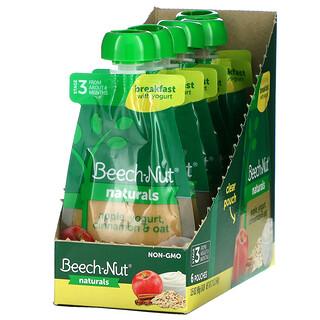Beech-Nut, Naturals,优酪乳早餐,3 段,苹果、优酪乳、肉桂、燕麦,6 袋装,每袋 3.5 盎司(99 克)