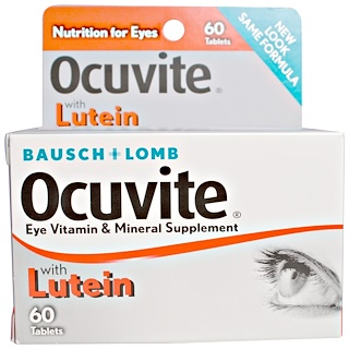 Bausch & Lomb Ocuvite, With Lutein, Eye Vitamin & Mineral Supplement, 60 Tablets