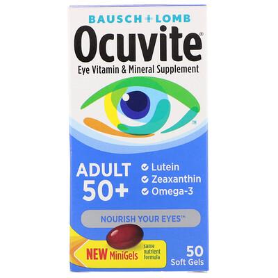 Ocuvite, для взрослых старше 50лет, витаминная и минеральная добавка для глаз, 50мягких таблеток белково витаминно минеральная добавка к рациону good fish meal рыбная мука 250г