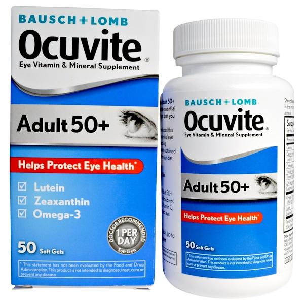 Bausch & Lomb, Adult 50 +,護眼維生素與礦物質軟膠囊,50粒