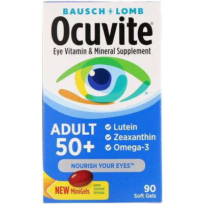 Купить Ocuvite, для людей старше 50 лет, добавка с витаминами и минералами для здоровья глаз, 90 мягких таблеток
