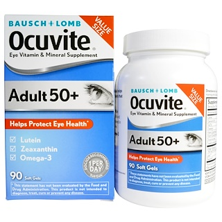Bausch & Lomb Ocuvite, Eye Vitamin & Mineral Supplement, Adult 50+, 90 Soft Gels