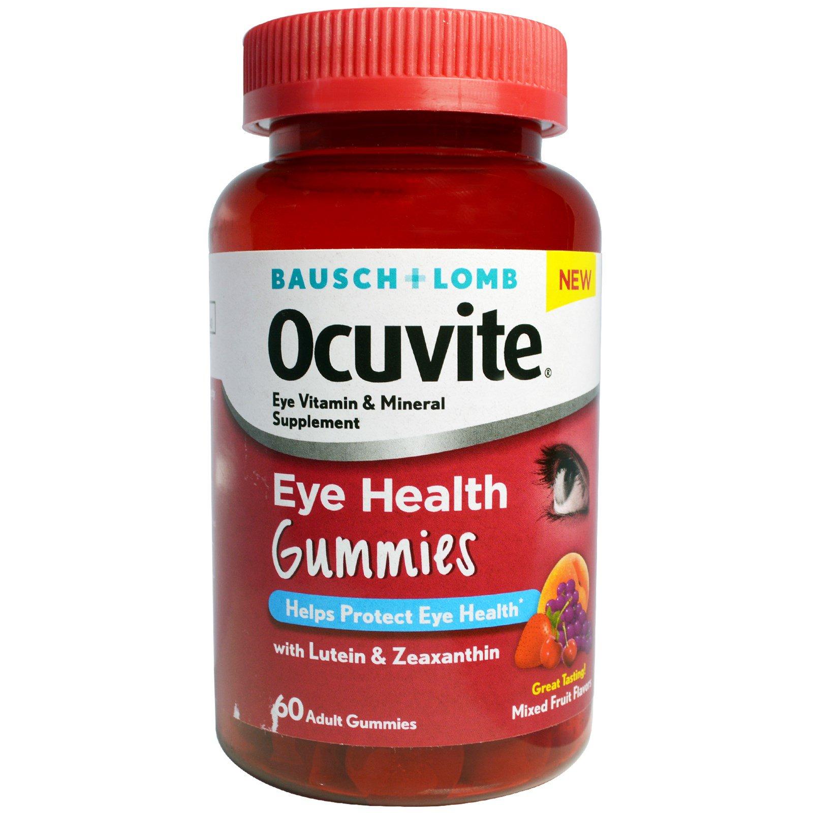 Bausch & Lomb Ocuvite, Желатиновые конфеты для здоровья глаз, смешанные фруктовые вкусы, 60 желатиновых конфет для взрослых