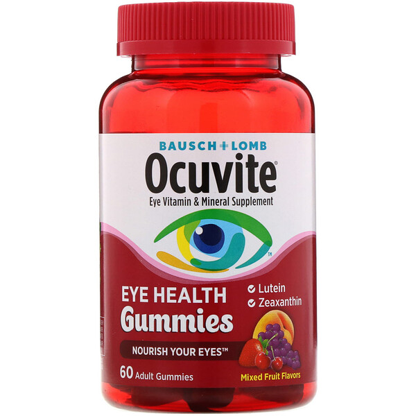 Ocuvite, Eye Health Gummies, Mixed Fruit Flavors, 60 Adult Gummies