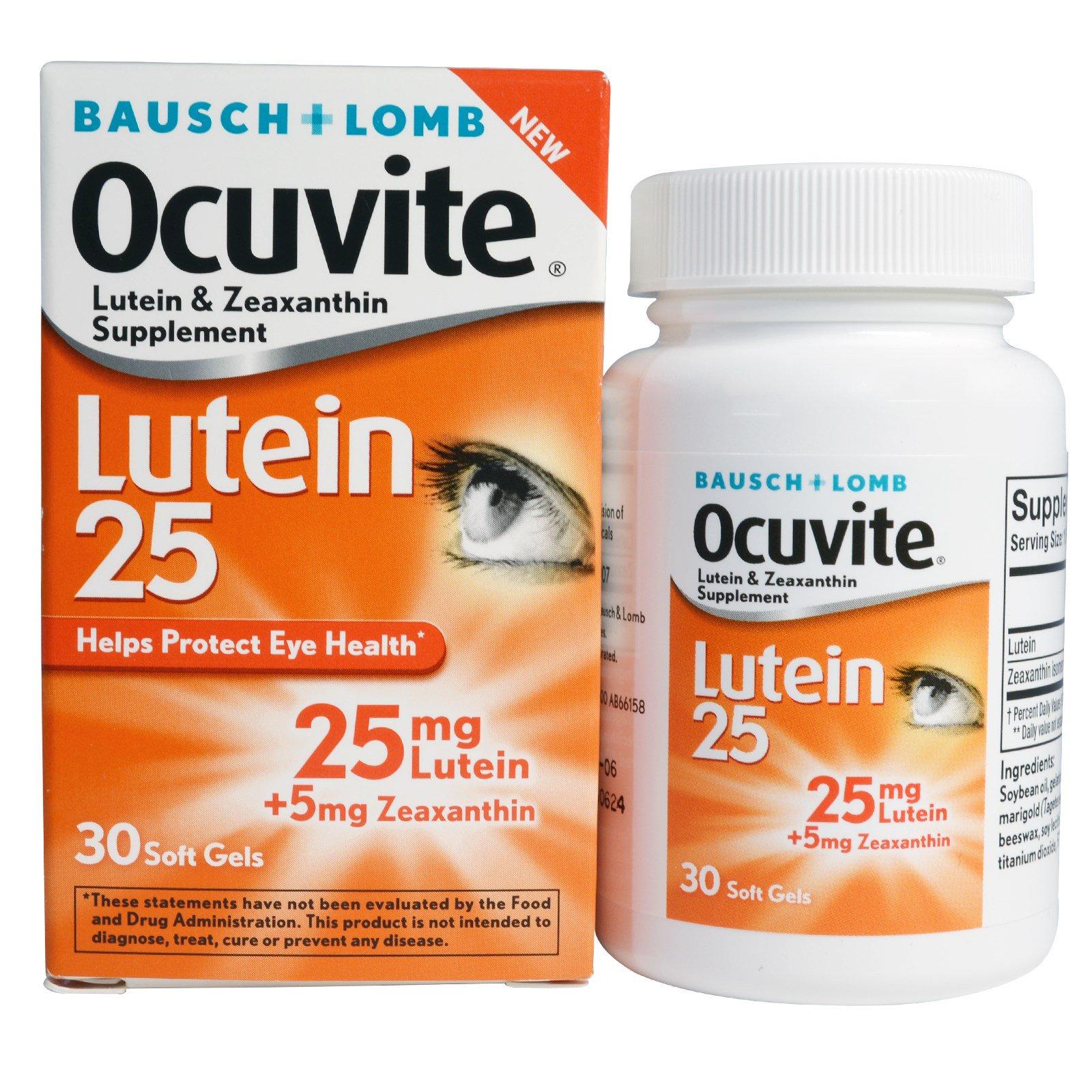 Bausch & Lomb Ocuvite, Лютеин 25, 30 мягких желатиновых капсул