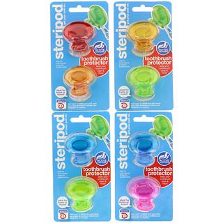 Bonfit America Inc., Steripod, Toothbrush Protector, 4 Pack, 2 Multi Colors Each