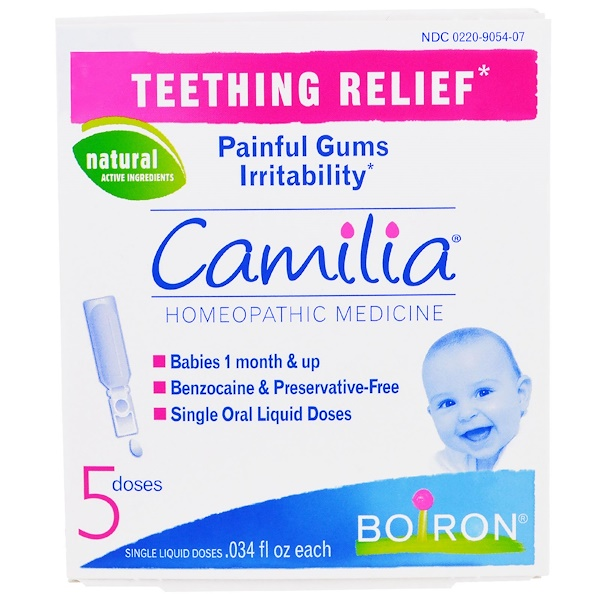 Boiron, Camilia, Teething Relief, 5 Doses, .034 fl oz Each (Discontinued Item)