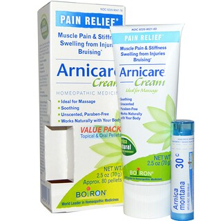 Boiron, Arnicare Cream, Pain Relief, 2.5 oz (70 g), Appr. 80 Pellets