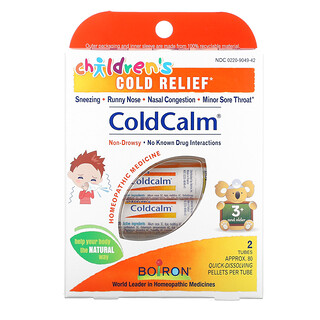 Boiron, Coldcalm, Children's Cold Relief, 3+ and Older, 2 Tubes, Approx. 80 Quick Dissolving Pellets Each