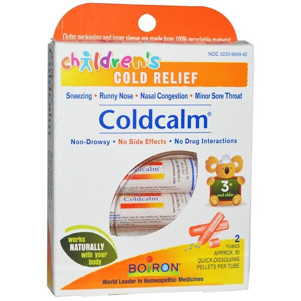 Boiron, Coldcalm, Children's Cold Relief, 3+ and Older, 2 Tubes, Approx 80 Quick Disolving Pellets Each
