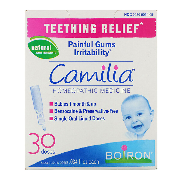 Boiron, Camilia, Teething Relief, 30 Single Liquid Doses, .034 fl oz Each