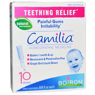 Boiron, Camilia, Teething Relief, 10 Single Liquid Doses, .034 fl oz Each