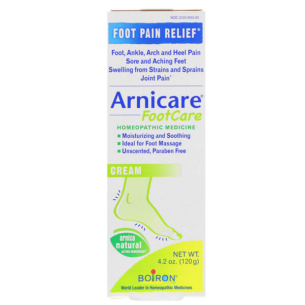 Boiron, Arnicare Foot Care Cream, Pain Relief, Unscented, 4.2 oz (120 g)