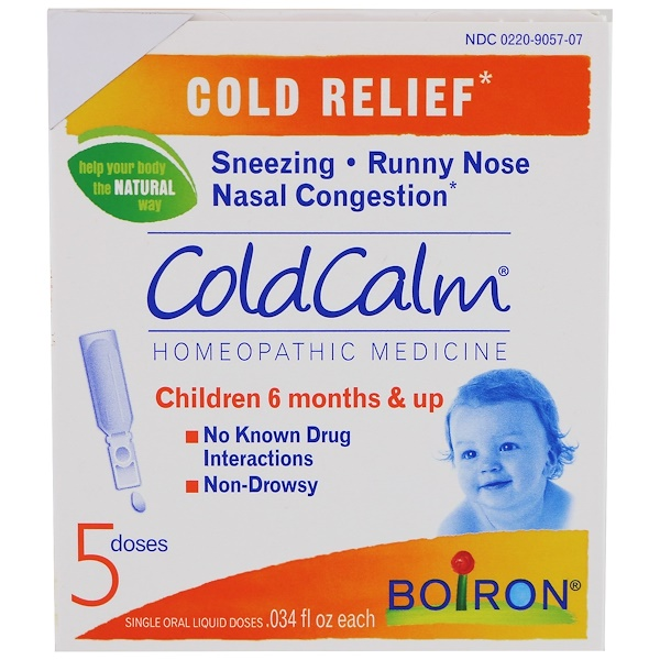 Boiron, ColdCalm, 5 Single Oral Liquid Doses, .034 fl oz Each (Discontinued Item)