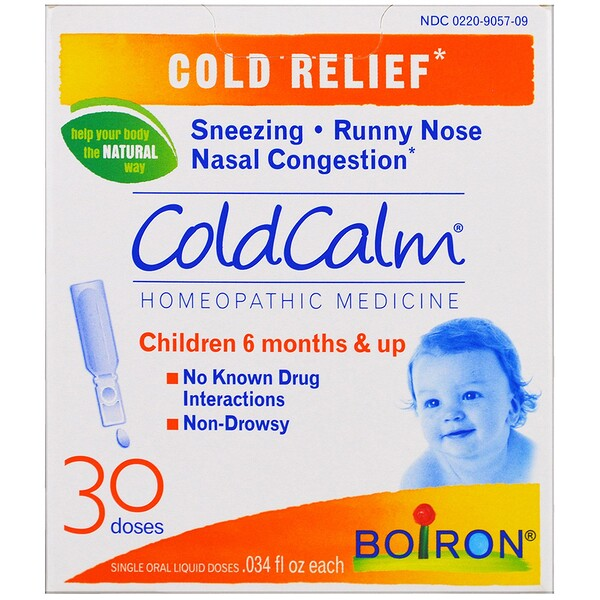 Boiron, ColdCalm, Cold Relief, 30 Oral Liquid Doses, .034 fl oz Each