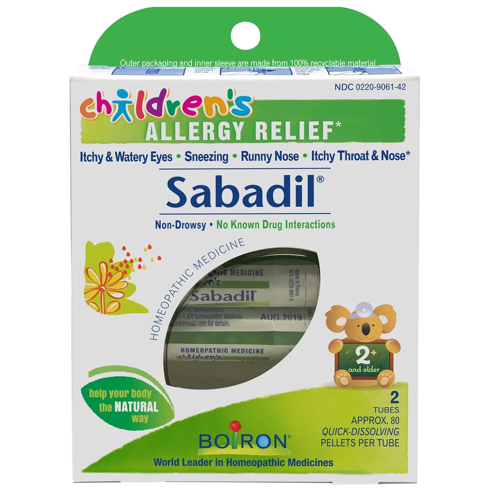 Boiron, Children's Sabadil, Allergy Relief, 2 Tubes, Approx  80