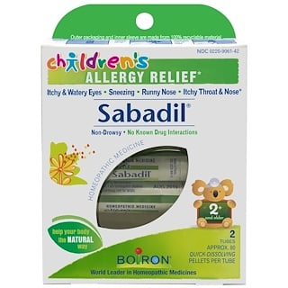 Boiron, Children's Sabadil, Allergy Relief, 2 Tubes, Approx. 80 Pellets Per Tube