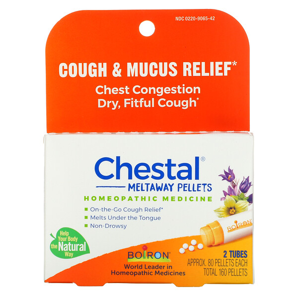 Chestal Meltaway Pellets, Cough & Mucus Relief, 2 Tubes, Approx 80 Pellets Each