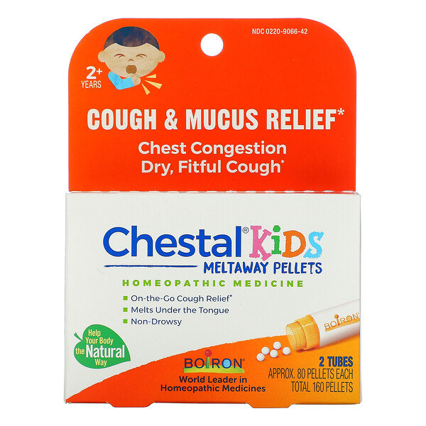 Chestal Kids Meltaway Pellets, Cough & Mucus Relief, 2+ Years, 2 Tubes, Approx. 80 Pellets Each