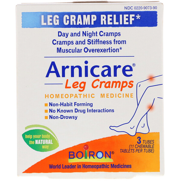 Boiron, Arnicare Leg Cramps, 3 Tubes, 11 Chewable Tablets Each