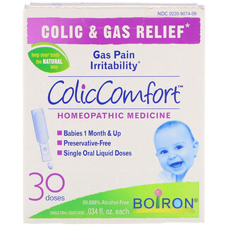 Boiron, ColicComfort, Alívio de Cólicas e Gases, 30 Doses, frasco de 0,034 oz Cada