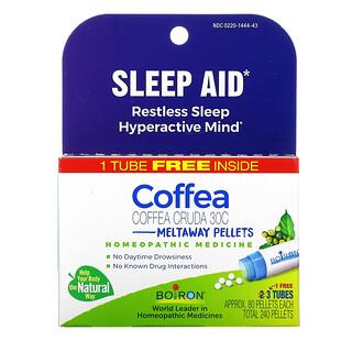 Boiron, Coffea, Sleep Aid, Meltaway Pellets, 30 C, 3 Tubes, 80 Pellets Each