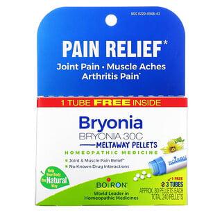 Boiron, Bryonia, Pain Relief, Meltaway Pellets, 30C, 3 Tubes, 80 Pellets Each