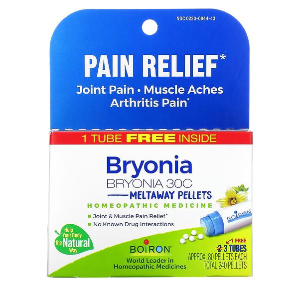 Bryonia, Pain Relief, Meltaway Pellets, 30C, 3 Tubes, 80 Pellets Each