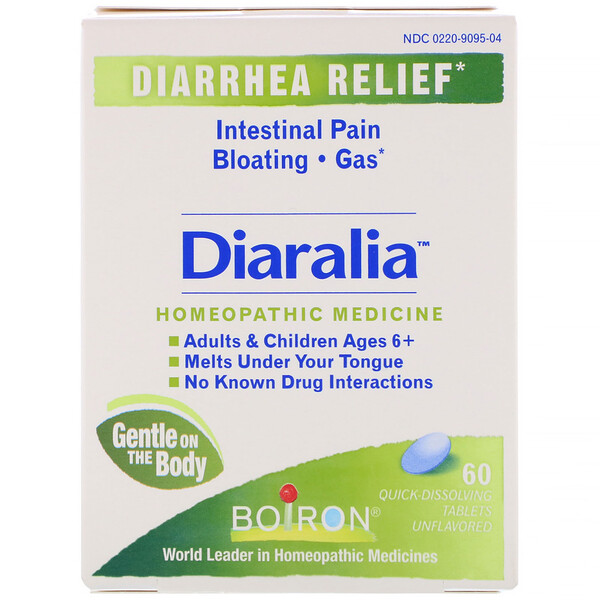Boiron, Diaralia, Diarrhea Relief, Unflavored, 60 Quick-Dissolving Tablets