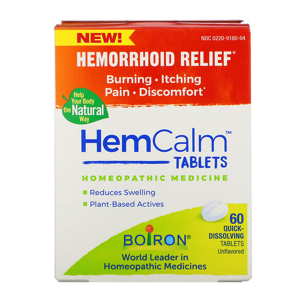 HemCalm Tablets, Hemorrhoid Relief, Unflavored, 60 Quick-Dissolving Tablets