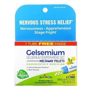 Boiron, Gelsemium, Nervous Stress Relief, Meltaway Pellets, 30C, 3 Tubes, Approx. 80 Pellets Each