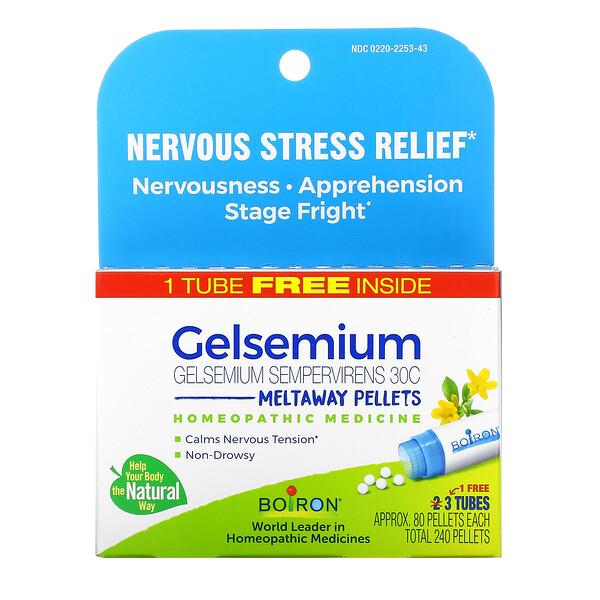 Gelsemium, Nervous Stress Relief, Meltaway Pellets, 30C, 3 Tubes, Approx. 80 Pellets Each