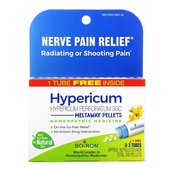 Hypericum, Nerve Pain Relief, Meltaway Pellets, 30C, 3 Tubes, 80 Pellets Each
