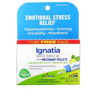 Boiron, Ignatia Amara, Emotional Stress Relief,  Meltaway Pellets, 30C,  3 Tubes, 80 Pellets Each