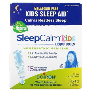 Boiron, Kids, SleepCalm Liquid Doses, 3+ Years, Melatonin-Free, 15 Pre-Measured Liquid Doses, 0.034 fl oz (1 ml) Each