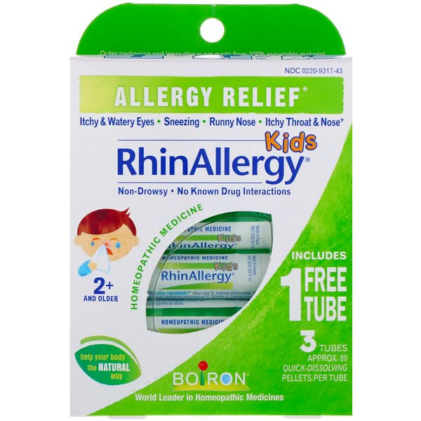 Kids, RhinAllergy, Allergy Relief, 3 Tubes, 80 Quick-Dissolving Pellets Each